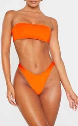PrettyLittleThing Orange Mix & Match Super High Leg Brazilian Bikini Bottom