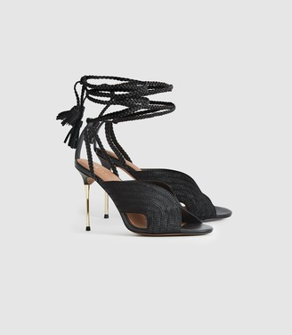 Reiss Minerva - Braided Ankle Strap Sandals in Black