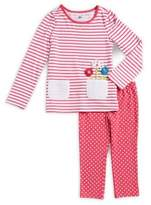 Kids Headquarters Little Girls Two-Piece Striped Top & Dotted Pant Set