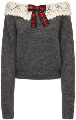 Miu Miu Off-the-shoulders Mohair Blend Sweater