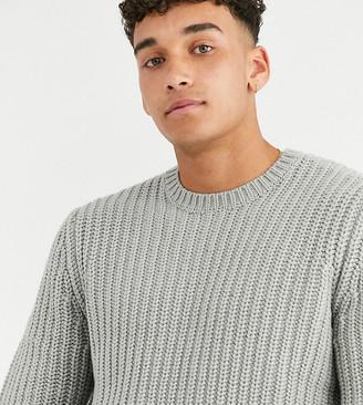 Asos Design DESIGN Tall fisherman rib sweater in gray
