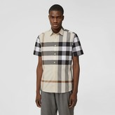 Burberry Short-sleeve Check Stretch Cotton Poplin Shirt