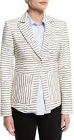 Derek Lam 10 Crosby Striped Textured Single-Button Blazer, White