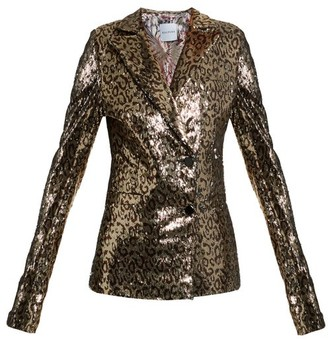 Halpern Sequin-embellished Notch-lapel Blazer - Animal