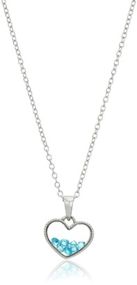 Hallmark Jewelry December Birthstone Sterling Silver Floating Heart Shaker Crystal Pendant Necklace 18""
