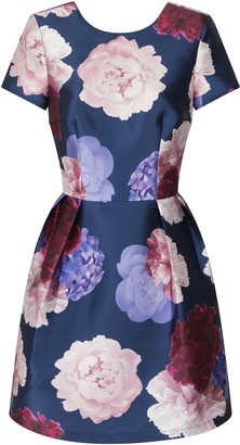 Evans **Chi Chi London Ally Navy Blue Printed Midi Dress