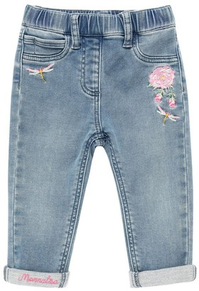 MonnaLisa Denim Effect Pants W/ Embroideries