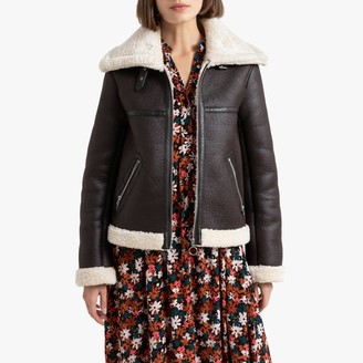 La Redoute Collections Faux Leather Aviator Jacket with Faux Fur Lining and Pockets