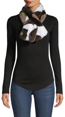 Adrienne Landau Rex Rabbit Fur Pull-Through Camo Scarf