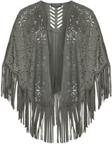 Via Appia Plus Size Fringed faux suede cut out cover-up