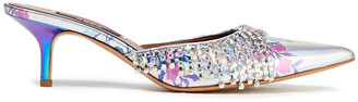 Area Crystal-embellished Iridescent Floral-print Faux Leather Mules