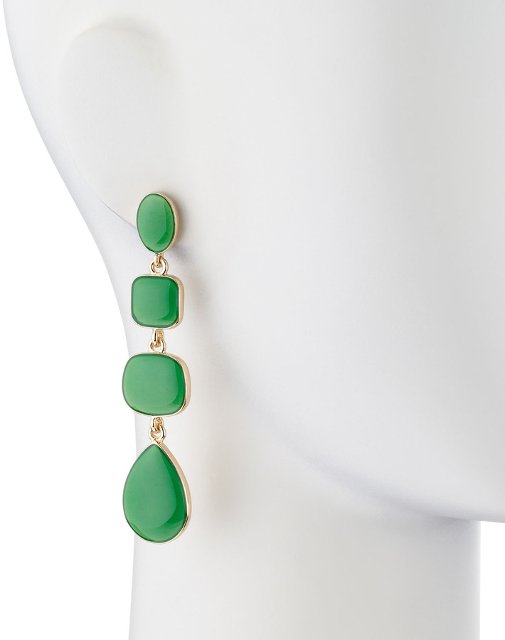 Kenneth Jay Lane Enamel Quadruple-Drop Earrings, Green
