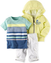 Carter's 3-Pc. Striped T-Shirt, Hoodie & Cargo Pants Set, Baby Boys (0-24 Months)