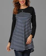 Reborn Collection Women's Tunics Navy - Navy & White Striped Color Block Tunic - Women