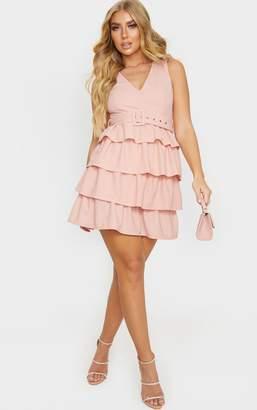 PrettyLittleThing Dusty Pink Belt Detail Tiered Skirt Skater Dress