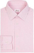 Brioni Men's Checked Poplin Shirt-PINK