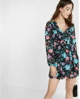 Express plunging v-neck floral ruffle dress