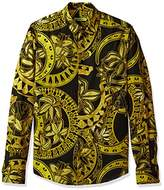 Versace Men's allover Gold Print Long Sleeve Shirt