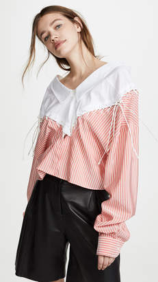 Unravel Project Lace Up Chopped Shirt