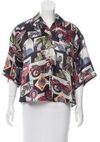 Hache Motorcycle Printed Button-Up Blouse w/ Tags