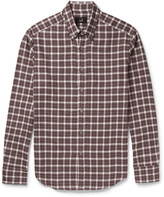 Dunhill - Slim-fit Button-down Collar Checked Cotton-flannel Shirt