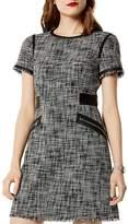 Karen Millen Faux-Leather Trim Tweed Dress