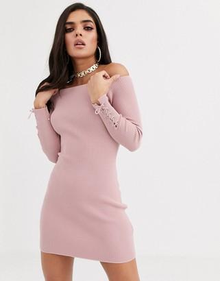 Bardot Asos Design ASOS DESIGN knit mini dress with lace up cuff detail-Pink