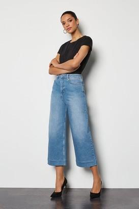 Karen Millen Bleached Wide Leg Cropped Jeans