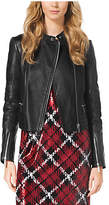 Michael Kors Quilted Leather-Paneled Moto Jacket