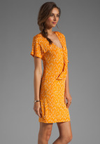 Tracy Reese Printed Jersey Surplice Dress in Tangerine/Pale Thistle