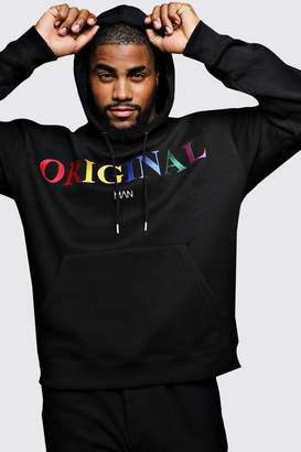 BoohoomanBoohooMAN Mens Black Big & Tall Original MAN Embroidered Hoodie, Black