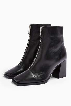 Topshop Womens Heidi Leather Black Zip Boots - Black