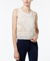 Bar III Sheer Embroidered Top, Only at Macy's