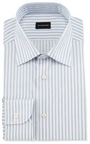 Ermenegildo Zegna Wide Striped Woven Dress Shirt, Open White Pattern