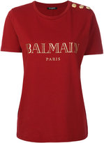 Balmain logo print T-shirt - women - Cotton - 40