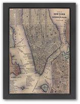 Americanflat Lower Manhattan Map Framed Wall Art