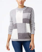 Alfred Dunner Petite Northern Lights Cable-Knit Sweater