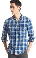 Gap 1969 Indigo Plaid Denim Western Shirt