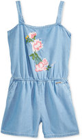 GUESS Embroidered Chambray Romper, Big Girls (7-16)
