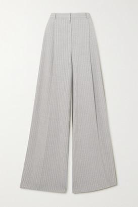 Nina Ricci Pinstriped Stretch-wool Wide-leg Pants - Light gray