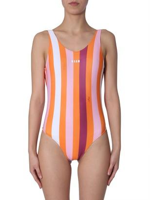 MSGM Stripe Print Logo Swimsuit