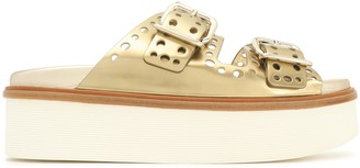 Tod's Buckled Perforated Metallic Leather Platform Sandals