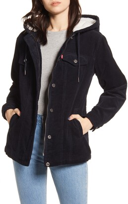 Levi's Hooded Corduroy Trucker Jacket with Faux Shearling Lining