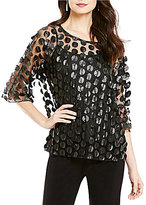 IC Collection Sheer Mesh Polka Dot 3/4 Sleeve Top