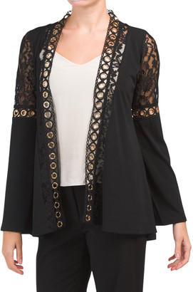 Lace Inset Cardigan Sweater