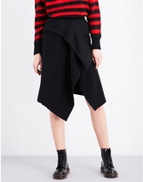 Izzue Wrap-front wool-blend skirt
