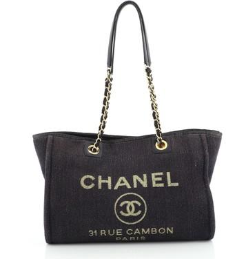 Chanel Deauville Tote Lurex Canvas Small