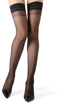 Me Moi Memoi MeMoi Women's Knee Highs Black - Black Sheer Lace Thigh-High Stockings - Women