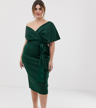 ASOS DESIGN Curve fallen shoulder midi pencil dress with tie detail in bottle green