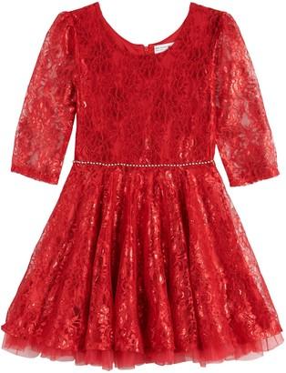 Knitworks Girls' 7-16 Lace Skater Dress With Rhinestone Applique Trim